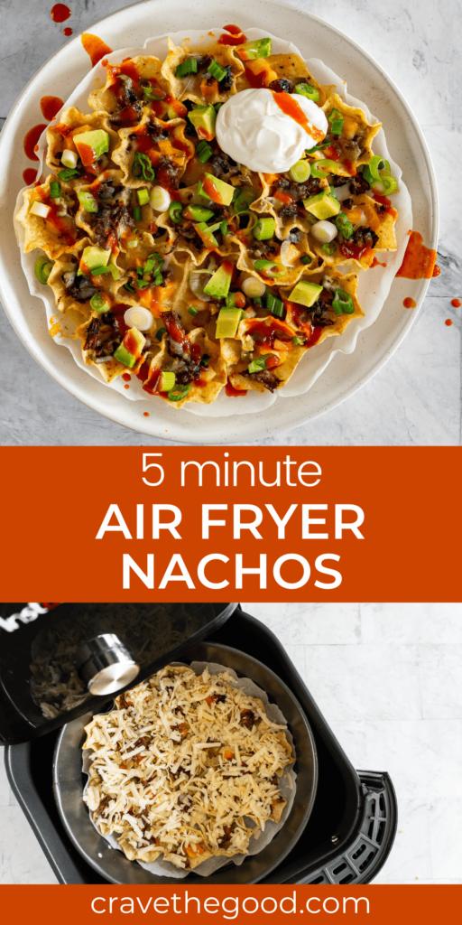 Air fryer nachos pinterest graphic.