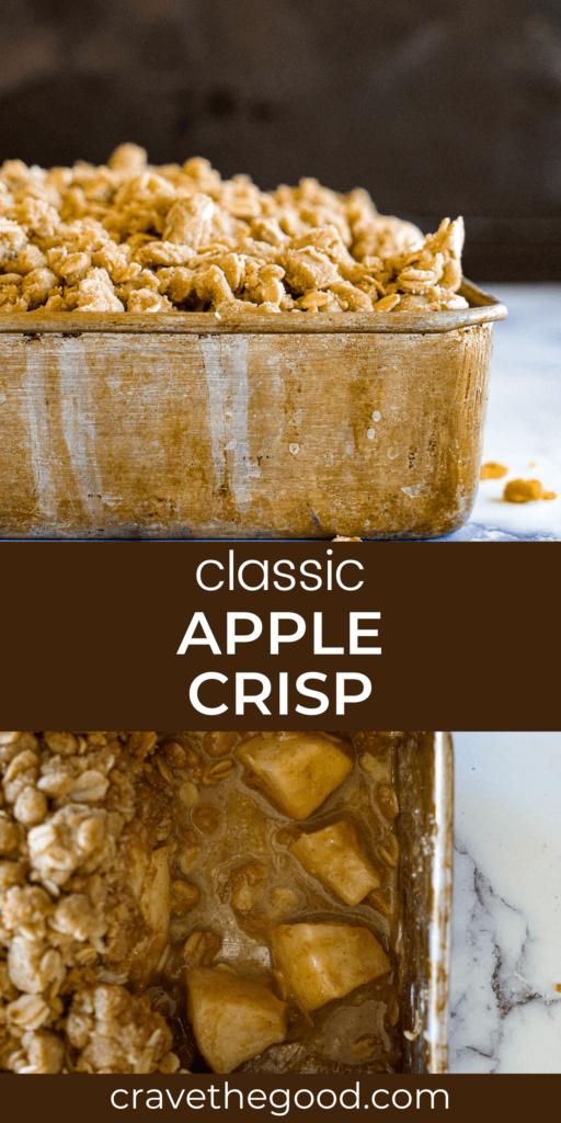 Classic apple crisp pinterest graphic.
