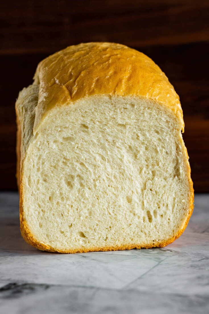 Cross section of a loaf of bread machine sourdough.