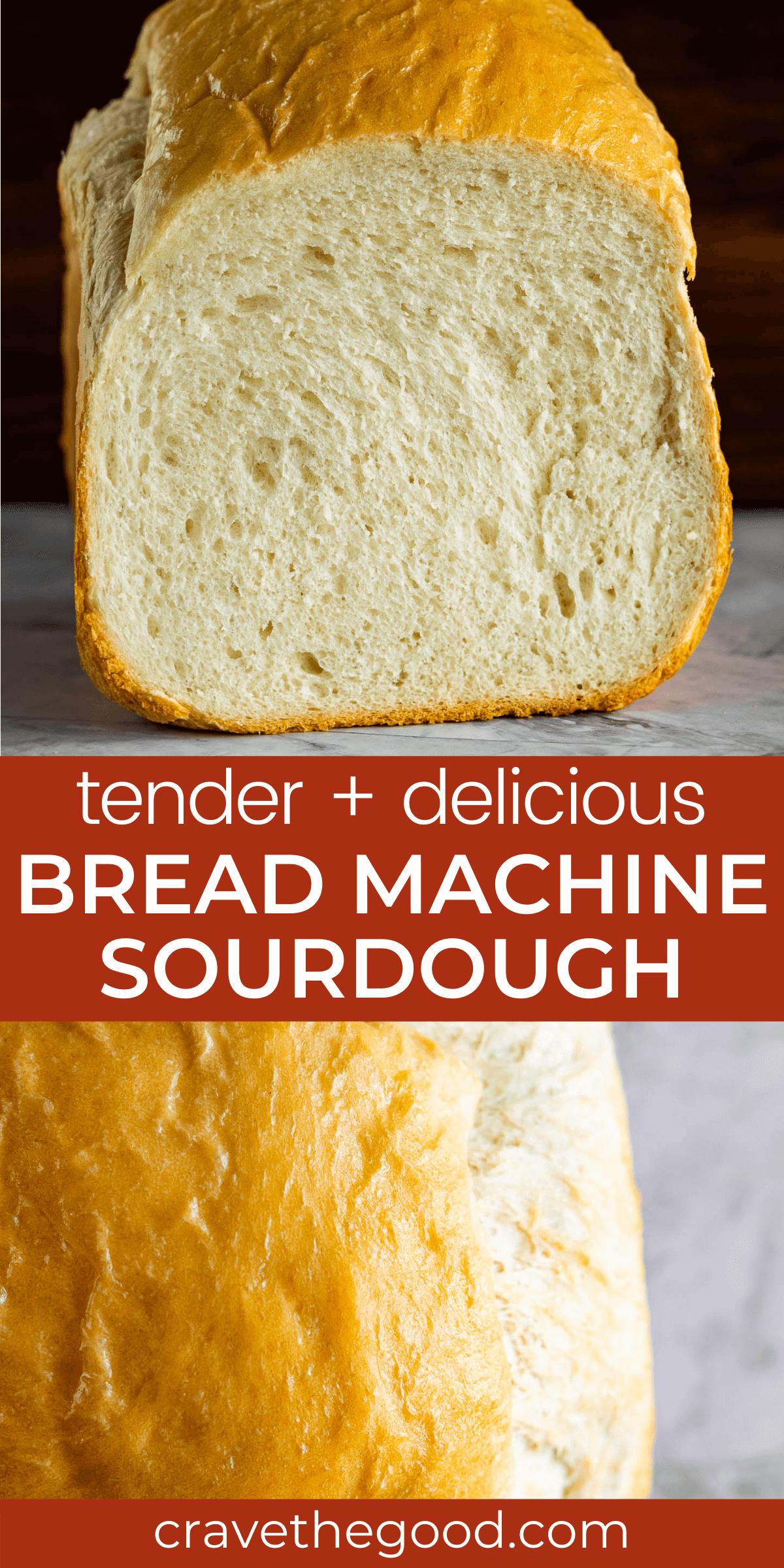 Bread maker sourdough bread pinterest graphic.