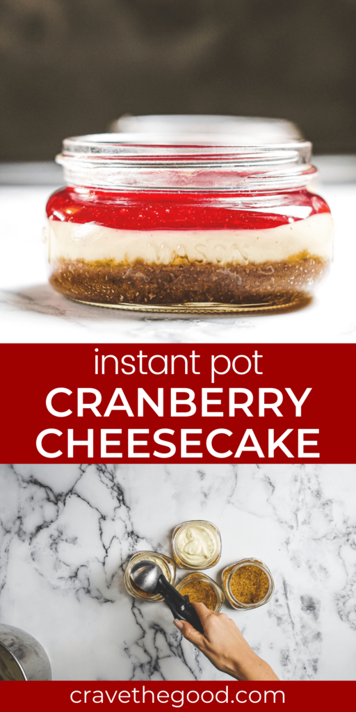 Instant Pot Cranberry Cheesecake pinterest graphic.