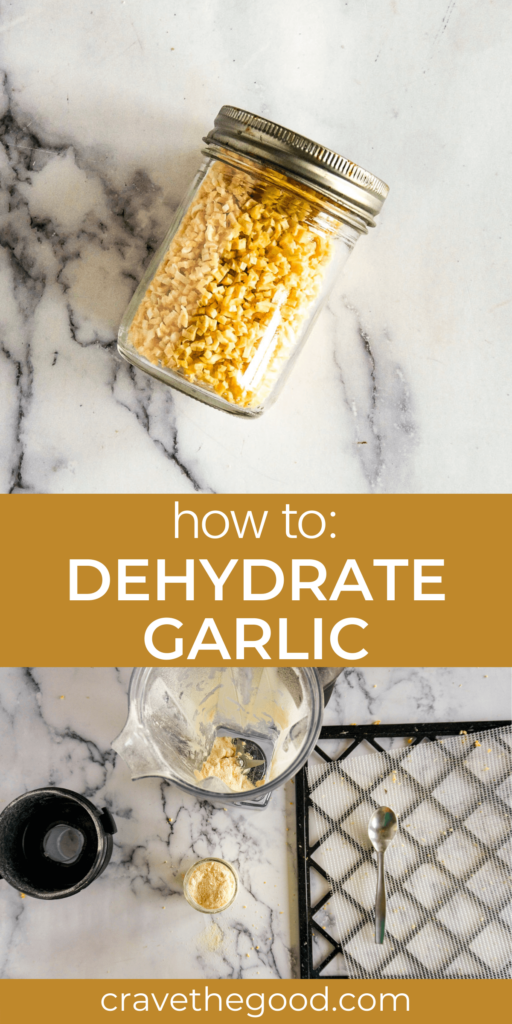 How to dehydrate garlic pinterest graphic.
