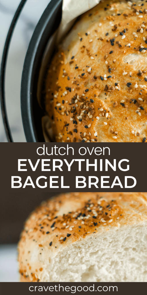 Everything bagel dutch oven bread pinterest graphic.