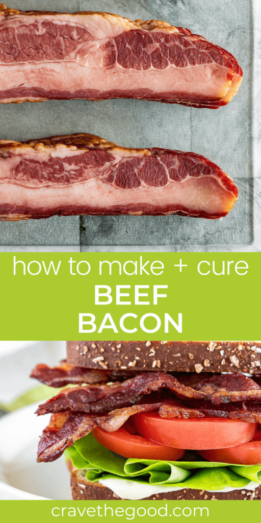 How to cure and smoke beef bacon pinterest graphic.