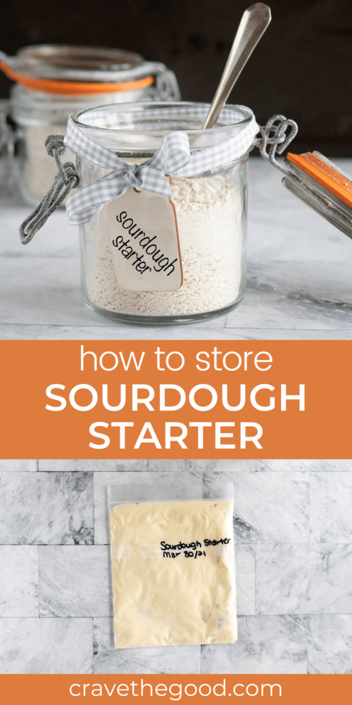 How to store sourdough starter pinterest graphic.