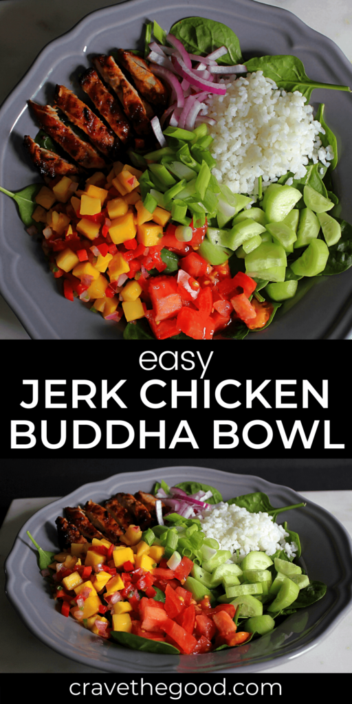 Easy Jerk Chicken Buddha Bowl pinterest graphic.
