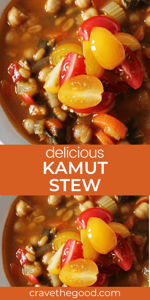 Delicious kamut stew pinterest graphic.