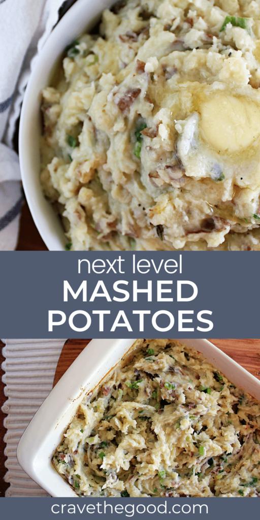 Next level maashed potatoes recipe pinterest graphic.