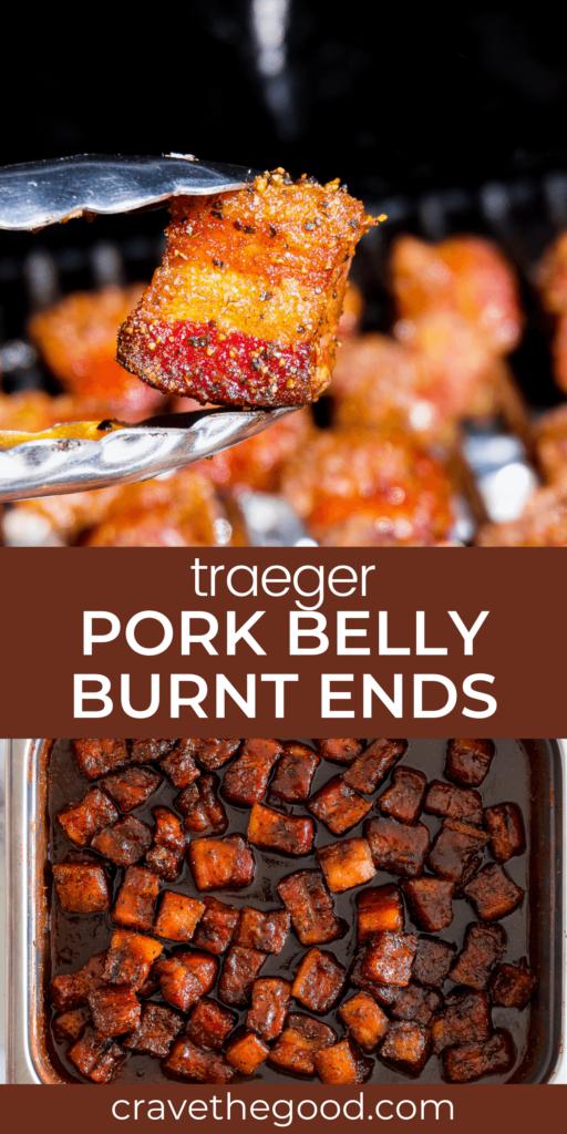 Traeger pork belly burnt ends pinterest graphic.