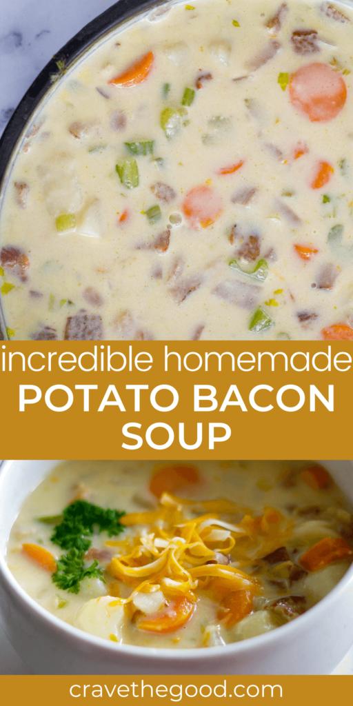 Homemade potato bacon soup pinterest graphic.