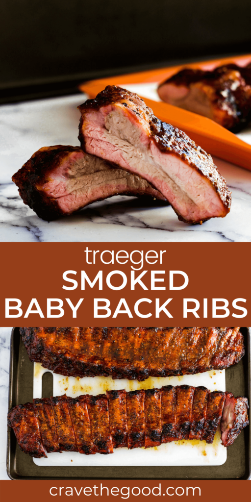 Traeger smoked baby back ribs pinterest graphic.