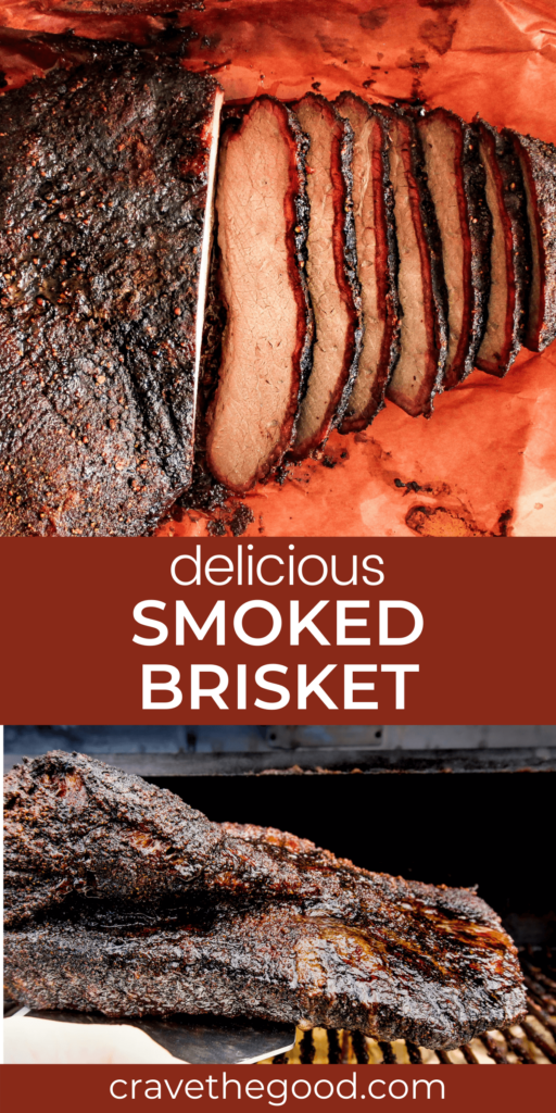 Delicious smoked brisket pinterest graphic.