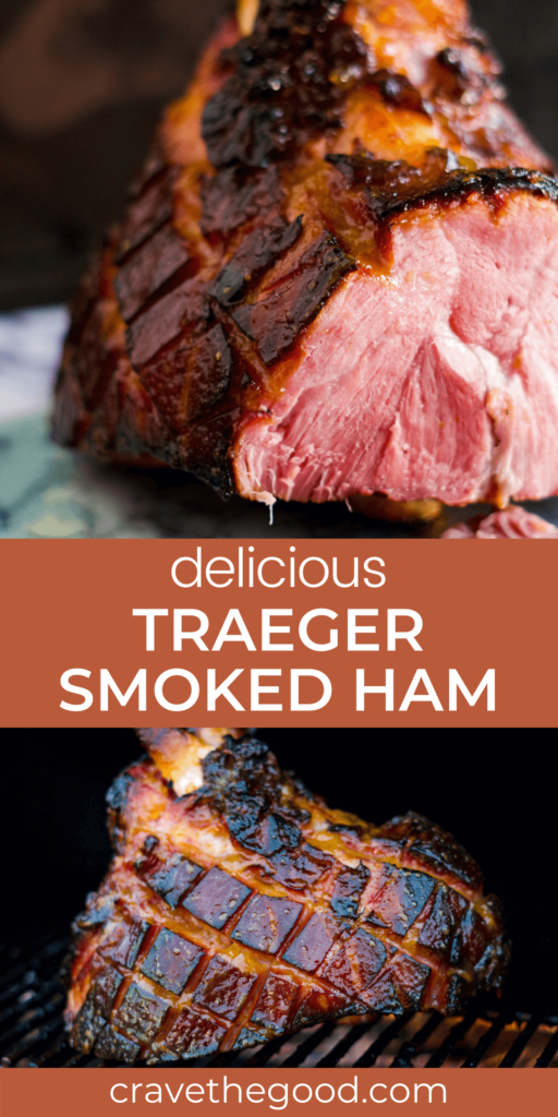 Traeger smoked ham pinterest graphic.