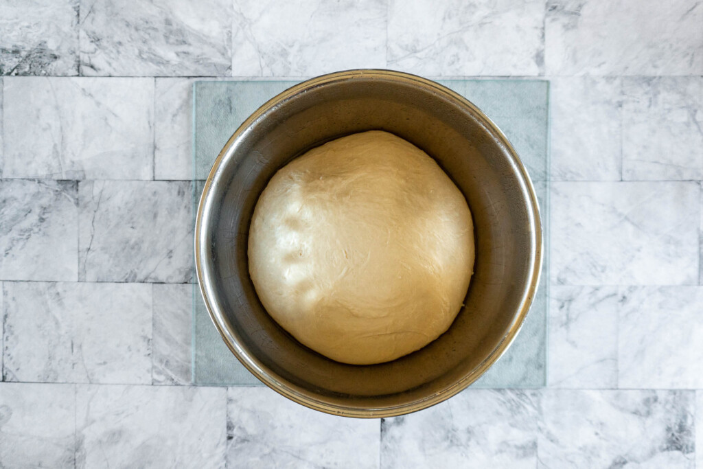 Dough after a rest in the fridge overnight.