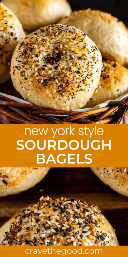 Sourdough Bagels pinterest graphic.