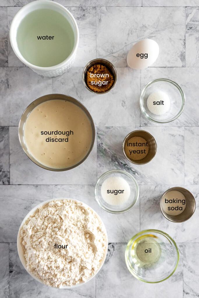 Ingredients for sourdough pretzels.