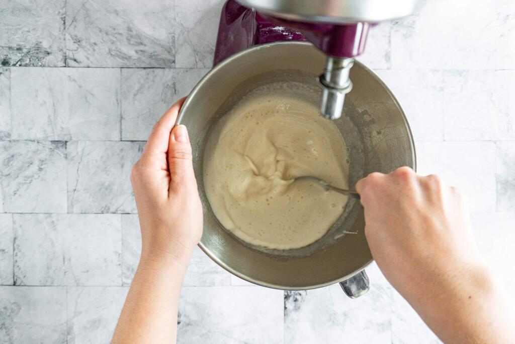 Stirring all liquid ingredients together.