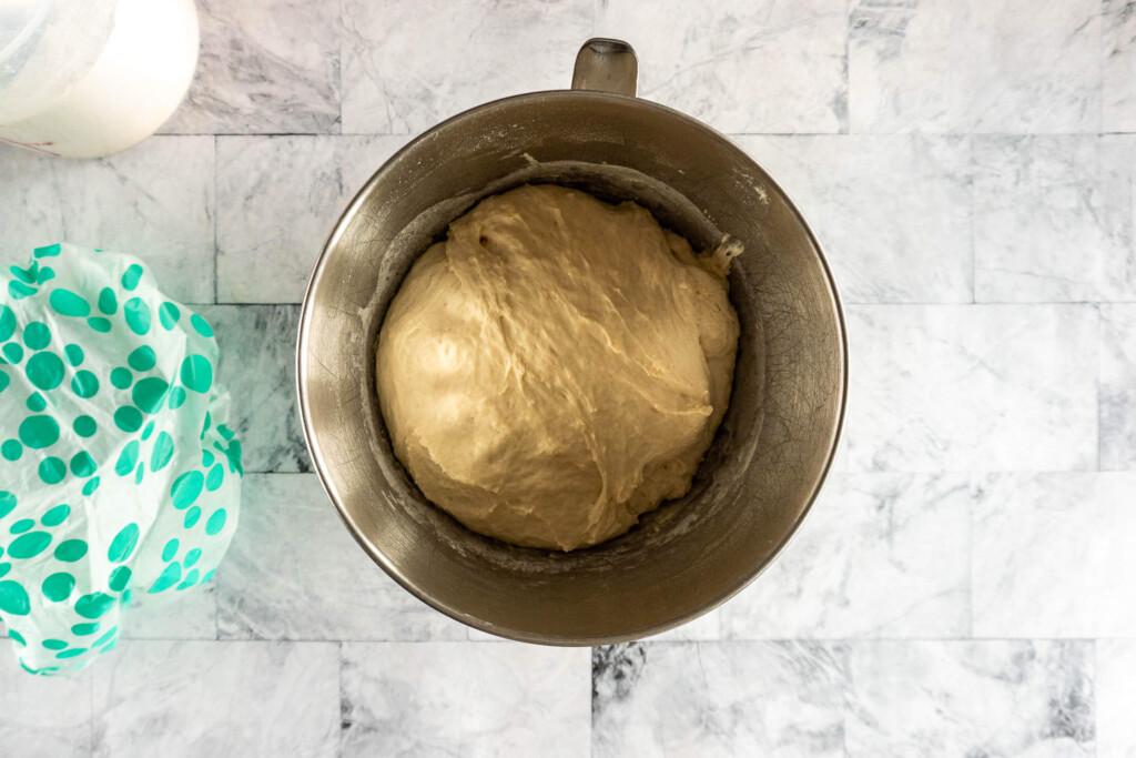 Risen pretzel dough.