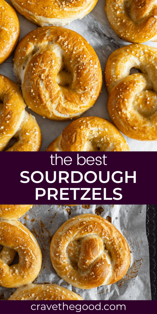 Sourdough discard pretzels recipe pinterest graphic.