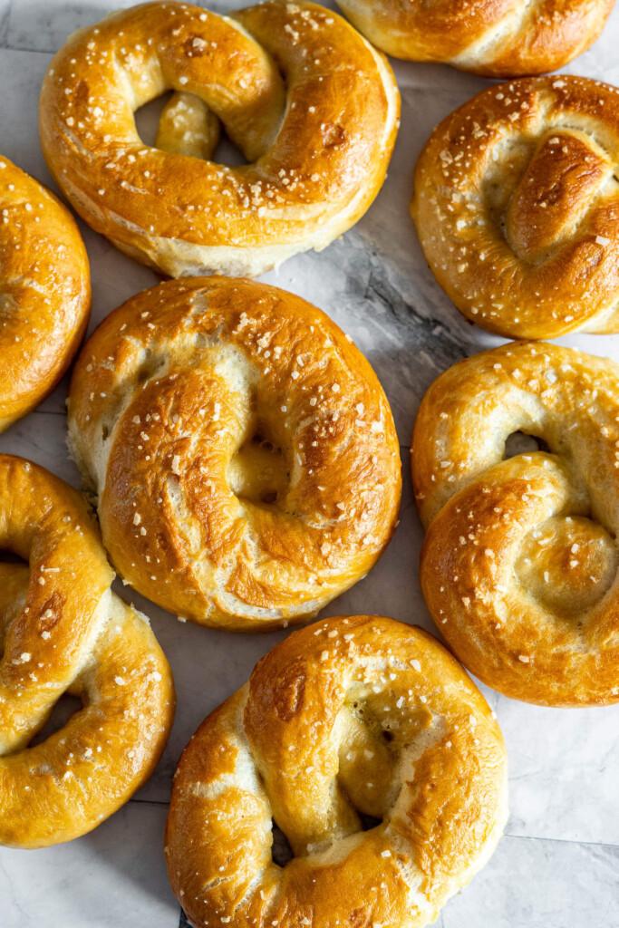 Overhead view of salted sourdough discard pretzels.