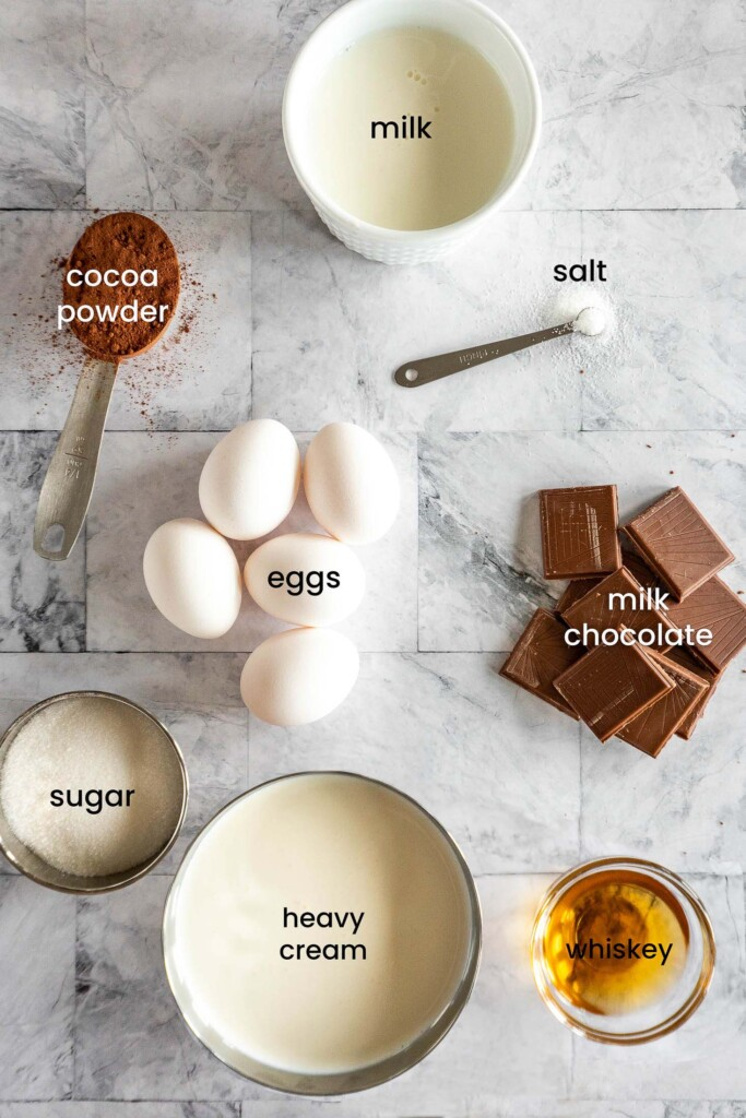 Ingredients for sous vide chocolate ice cream.
