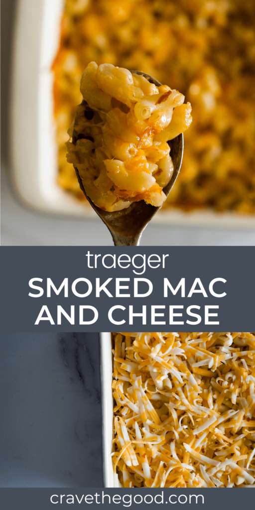 Traeger smoked mac and cheese pinterest graphic.