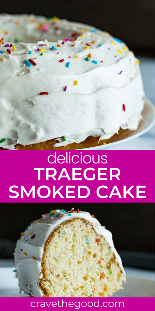 Traeger smoked cake pinterest graphic.
