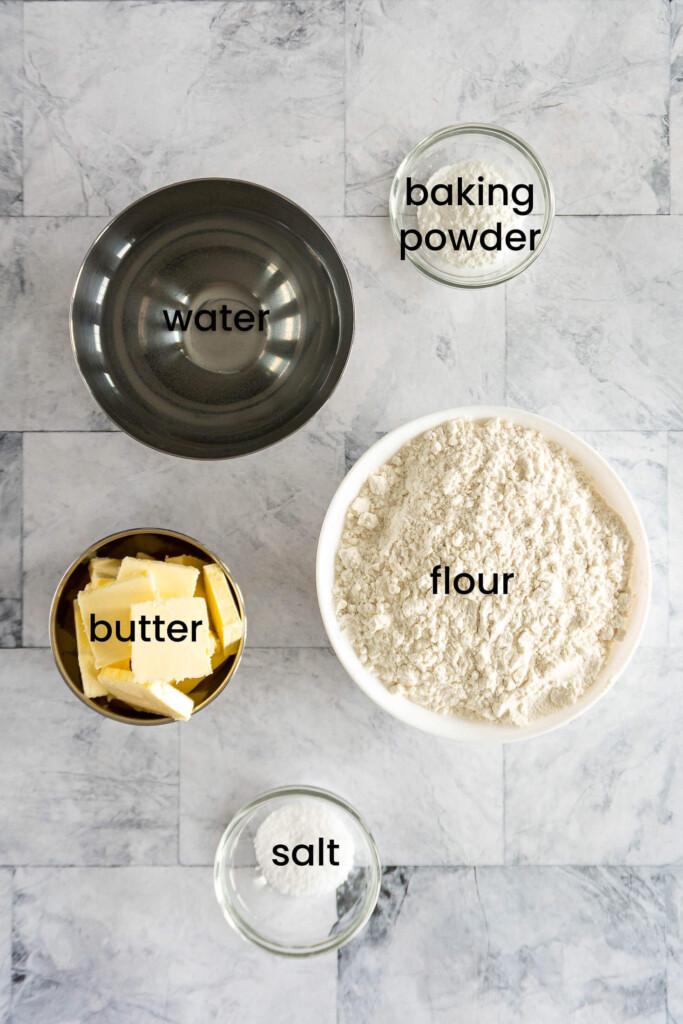 Ingredients for no milk biscuits.