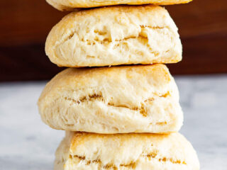 A stack of fresh baked no milk biscuits.