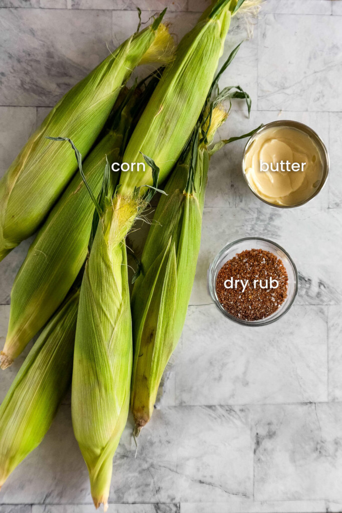 Ingredients required for smoked corn on the cob.