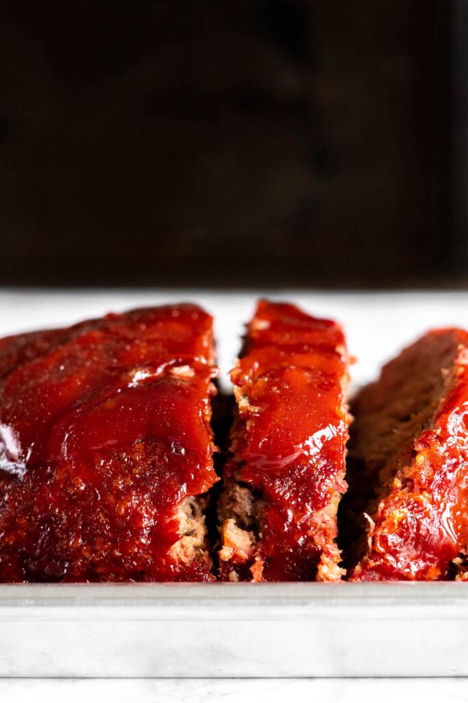 Sliced Traeger meatloaf.