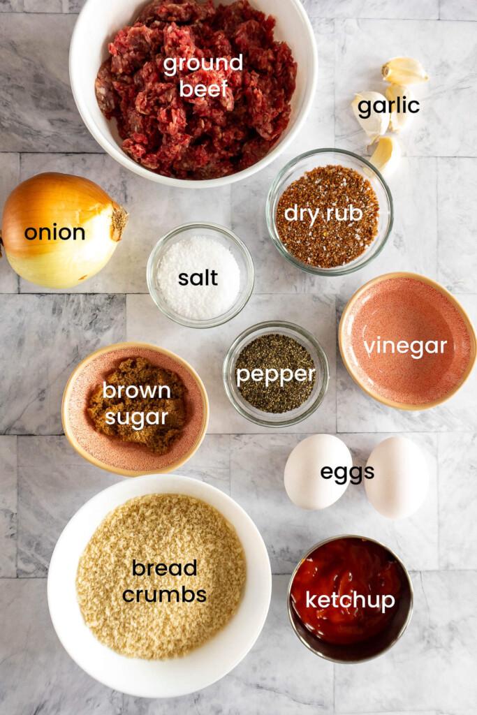 Smoked meatloaf ingredients.