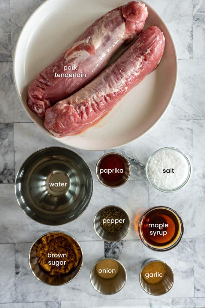 Ingredients required for smoked pork tenderloin.