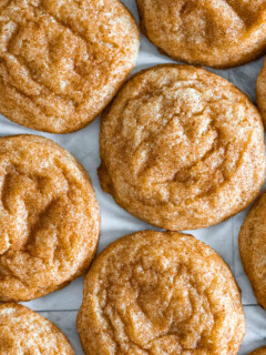 Overhead view of snickerdoodle cookies made without cream of tartar.