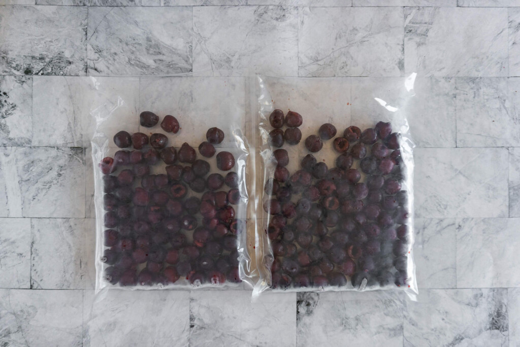 Two filled vacuum sealed bags.