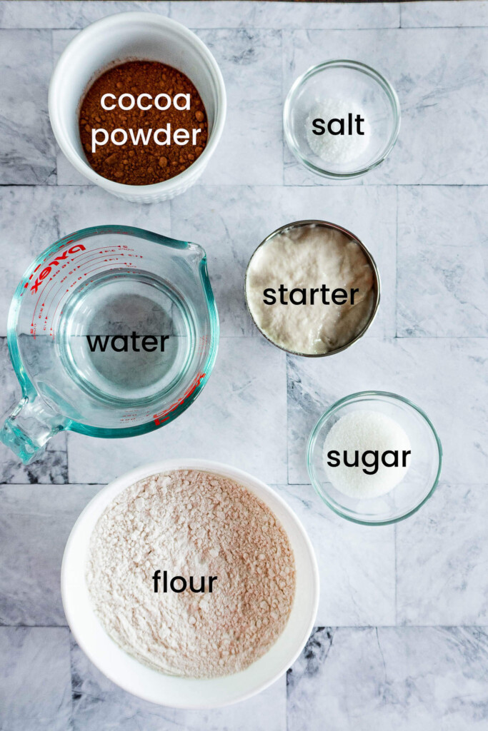 Ingredients required for chocolate sourdough bread.