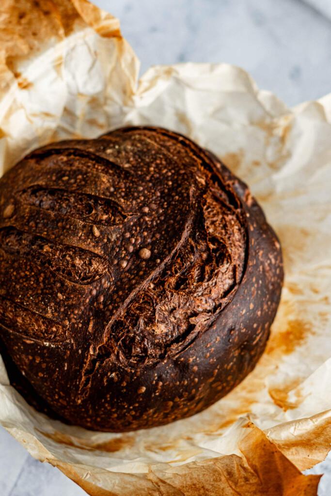 Fresh loaf of chocolate sourdough bread.