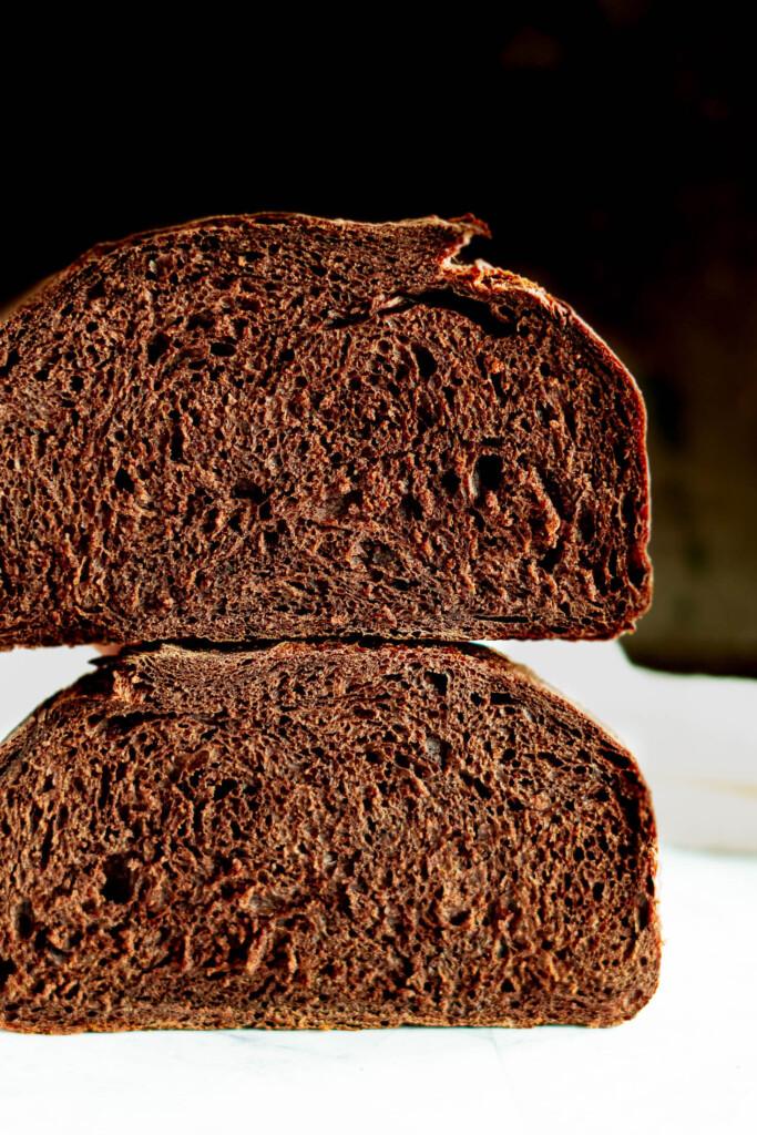 Sliced chocolate sourdough bread.