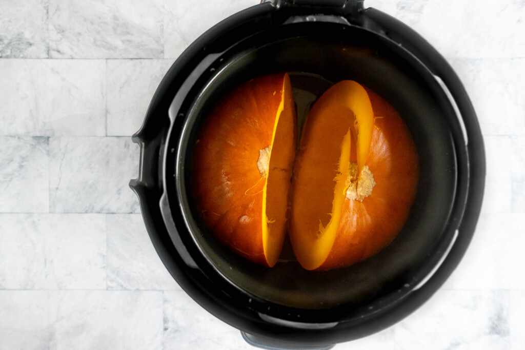 Pressure cooked pumpkin halves.