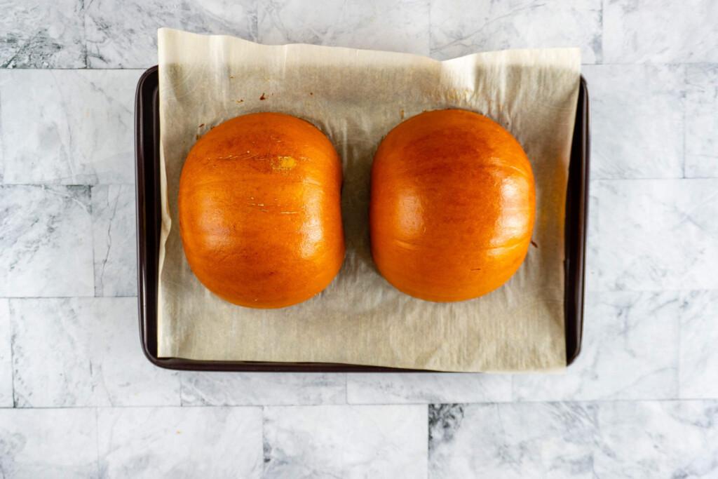 Roasted pumpkin halves.
