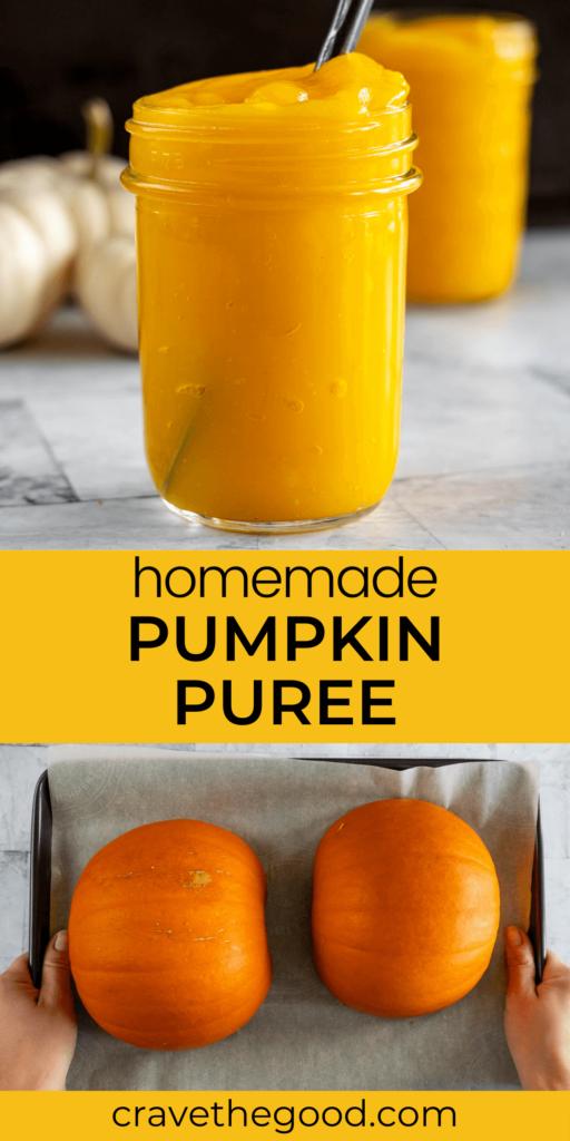 Homemade pumpkin puree pinterest graphic.