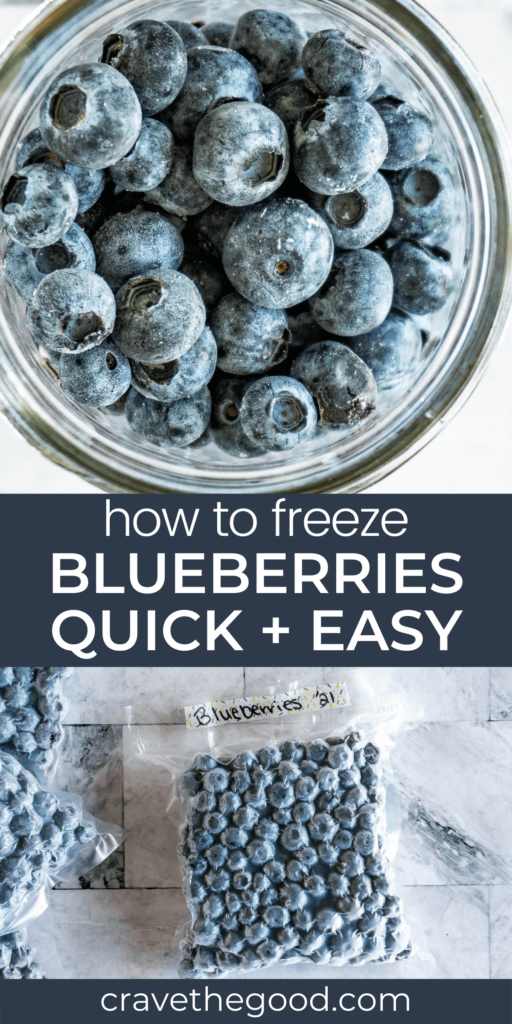 How to freeze blueberries pinterest graphic.