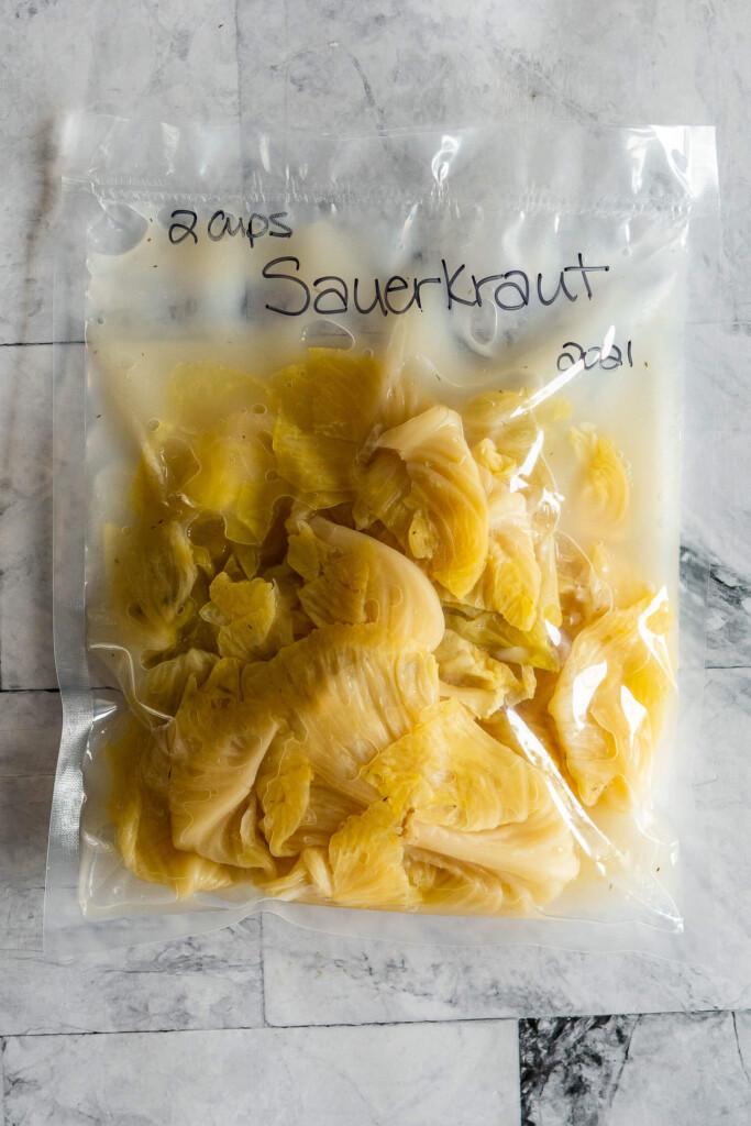 Sauerkraut in a vacuum sealed bag.