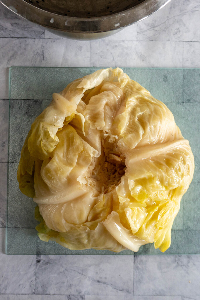 A whole head of sour cabbage.