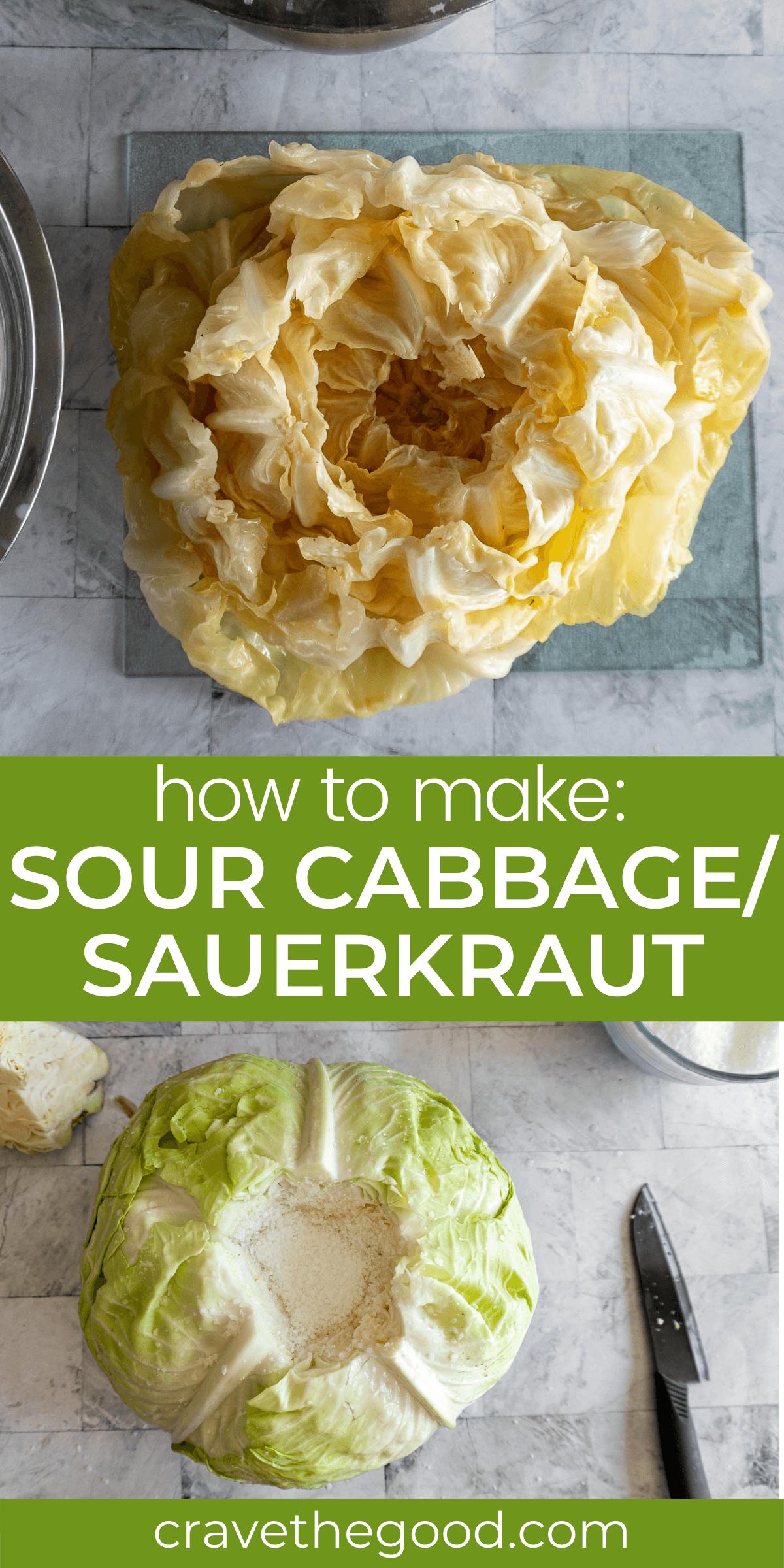 How to make sour cabbage / sauerkraut pinterest graphic.