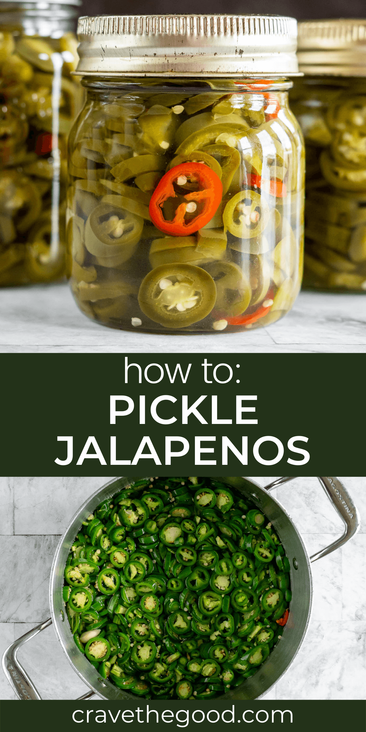 Pickled Jalapenos pinterest graphic.