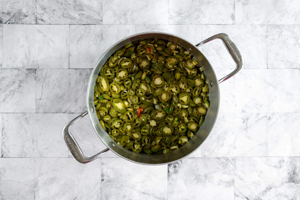 Jalapenos after sitting in brine for 10 minutes.