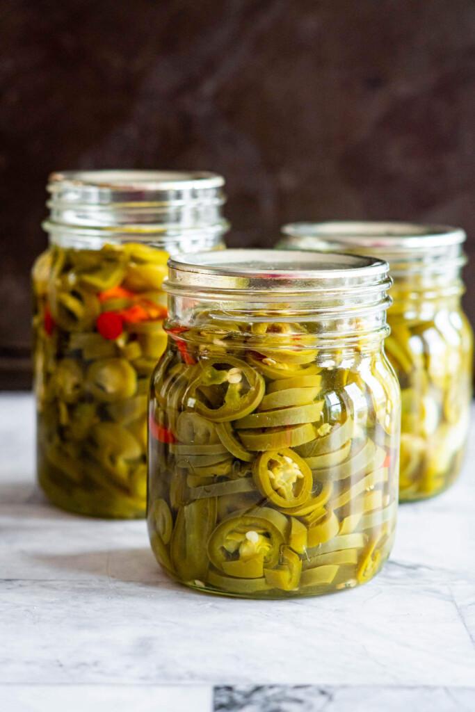 3 jars of pickled jalapenos.