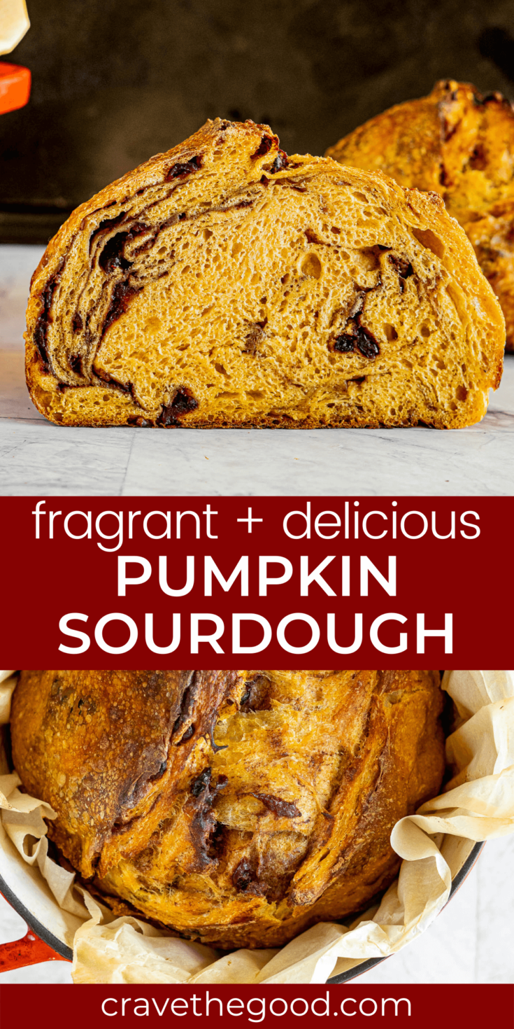 Pumpkin sourdough bread pinterest graphic.
