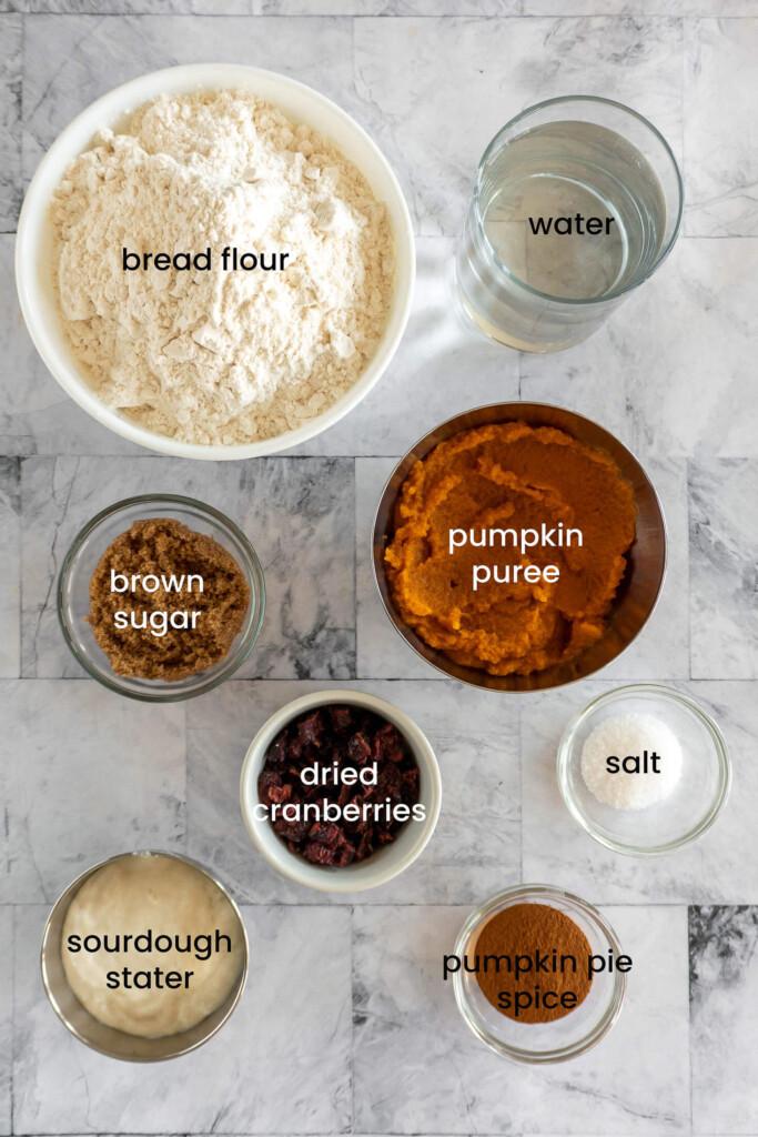 Ingredients required for pumpkin sourdough bread.